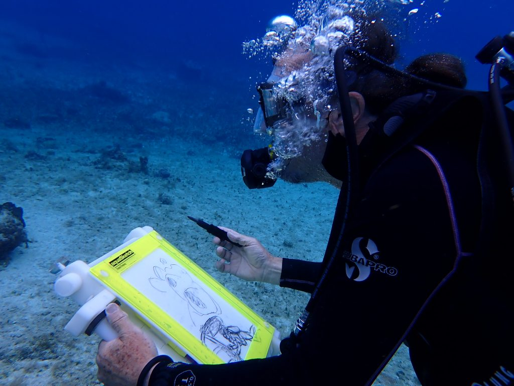 Dive and Draw Cozumel | diver sketching underwater | living sea sculpture