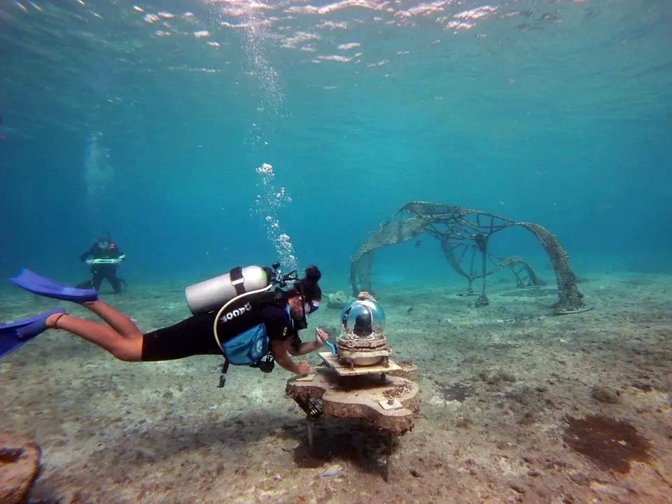 diver posing for dive and draw Cozumel